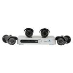 Combo 4 camaras, Sensor CMOS 1/4, 700TVL con DVR 4-Ch, H.264, CIF