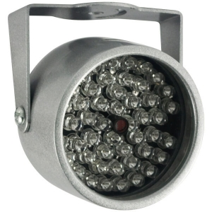 Lampara infrarroja de 48 LEDs, 20 metros de distancia IR, color plata